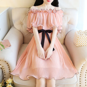 Chiffon Lace Ruffle Dress SE20406