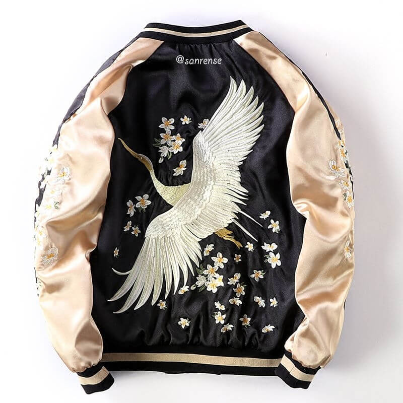 Crane Flower Embroidery Bomber Jacket SE21080