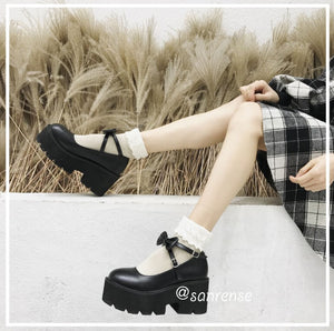 Cute Bow Round Head Platform Shoes SE20919