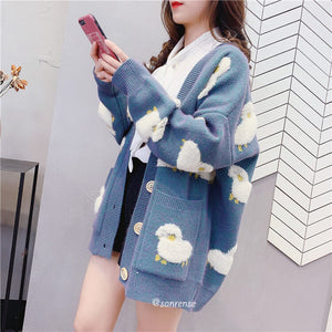 Cute Cartoon Sheep Knitted Cardigan Sweater SE21011