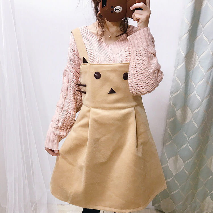 Cute Cat Woolen Suspender Skirt SE21258
