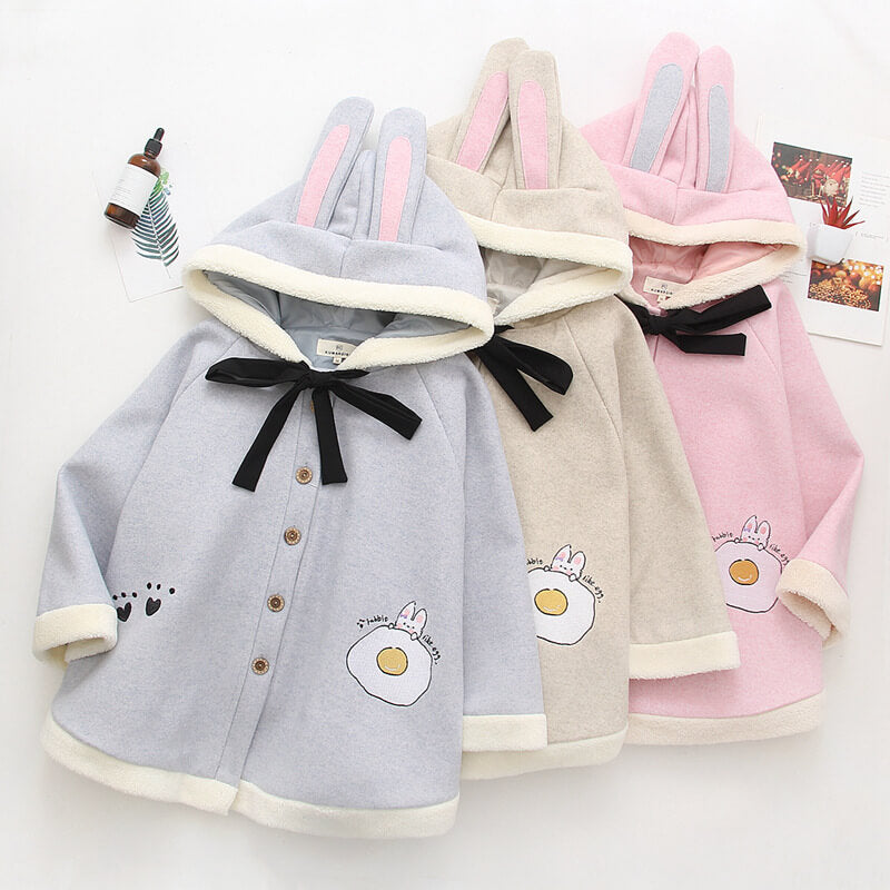 Cute Egg Rabbit Ear Cloak Coat Hoodie SE21234