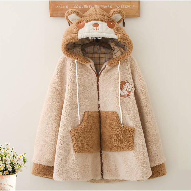 Sheep Lamb Wool Warm Hooded Coat SE21225