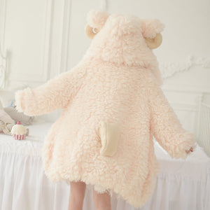 Cute Loose Warm Wool Sheep Hoodie Coat SE21283