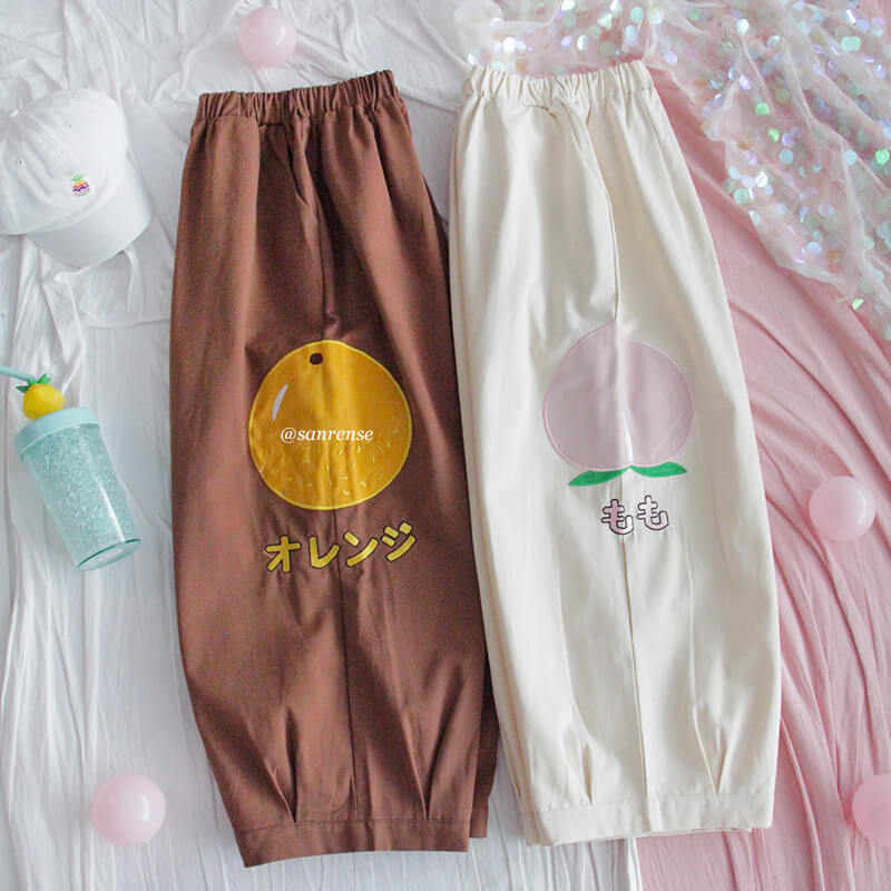 Cute Orange Peach Lantern Pants SE21139