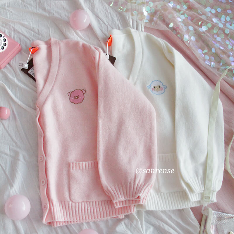 Cute Piggy Lamb Knitted Cardigan Sweater SE21136