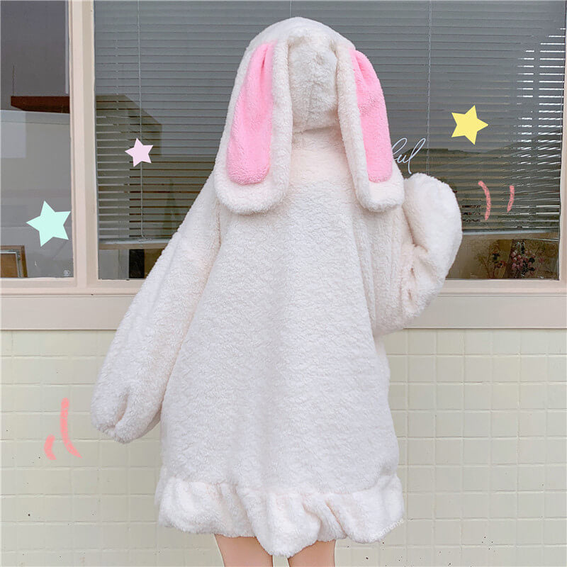 Cute Plush Rabbit Ears Hoodie Coat SE21358