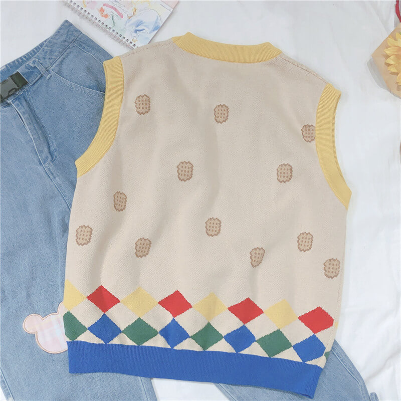 Cute Bear Bow Vest Sweater SE20771