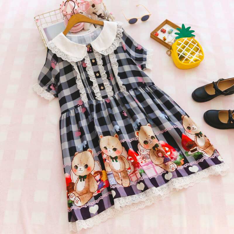 Cute Bear Doll Collar Chiffon Dress SE20408
