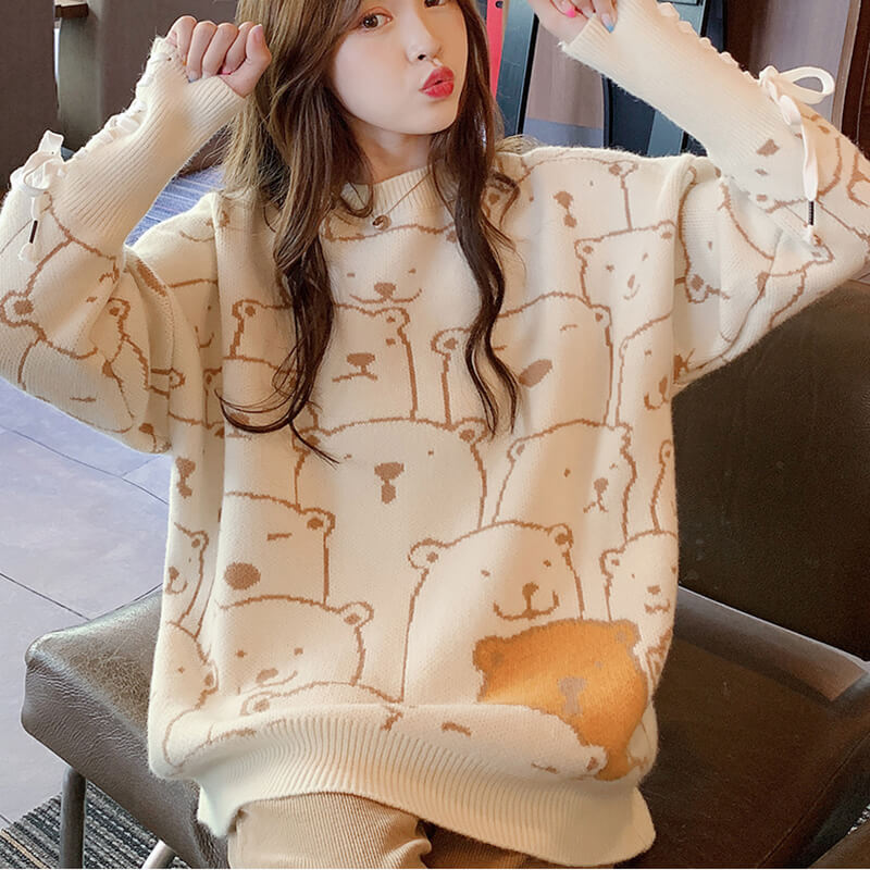 Cute Bear Straps Knit Sweater SE20645