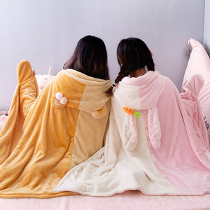 Cute Bunny Bear Hooded Cape Cloak Blanket SE20661