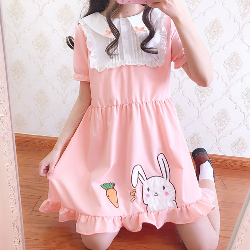 Cute Carrot Rabbit Chiffon Dress SE20437