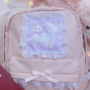 Cute Cat Lace Bow Backpack SE20654