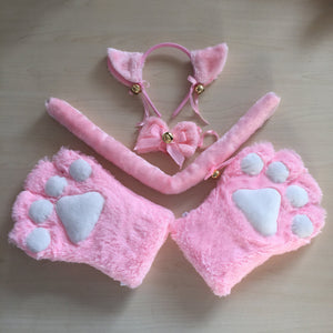 Cute Cosplay Cat Gloves Ear Set SE20555