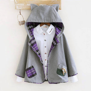 Cute Grid Cat Ear Hoodie Cape Coat SE9099