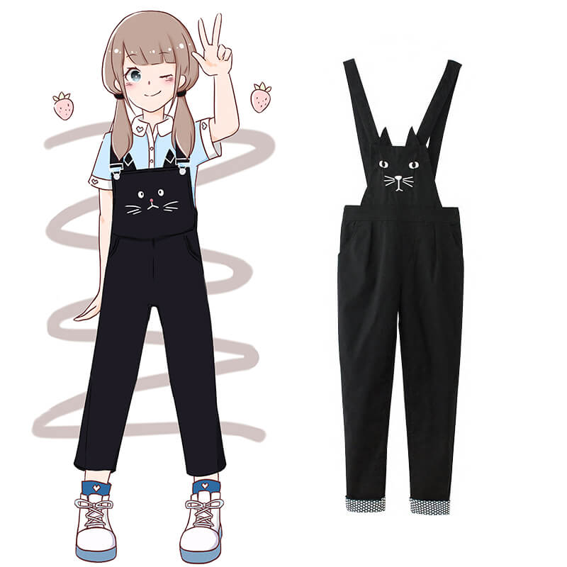 Cute Kawaii Cat Straps Jumpsuit SE9522