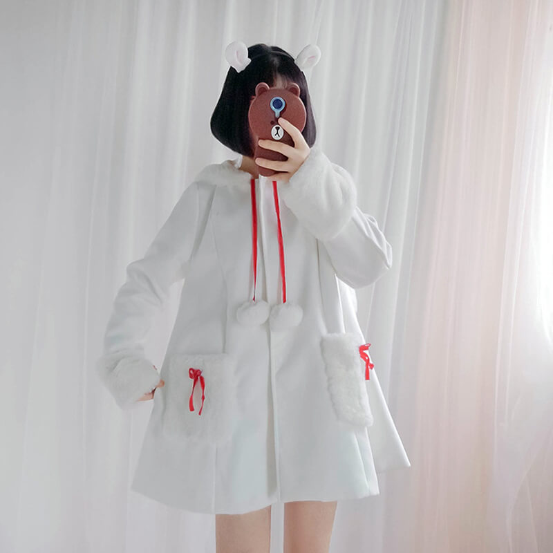 Cute Kawaii Plush Rabbit Ears Hoodie Coat SE20722