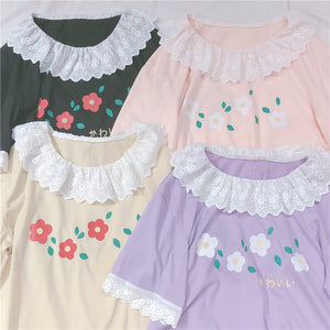 Cute Lace Flower T-shirt SE20453