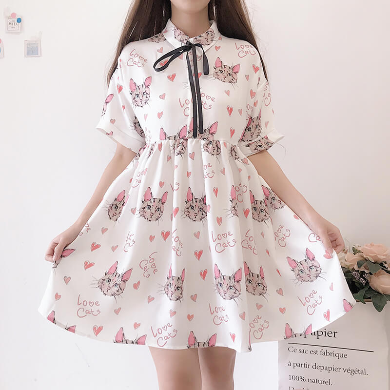 Cute Love Cat Dresses SE20338