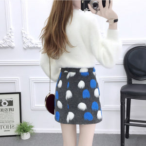 Cute Mohair Sweater Skirt Set SE20246