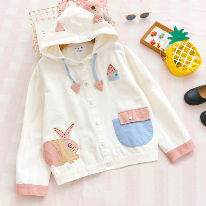 Cute Rabbit Cat Ear Hoodie Jacket SE20560