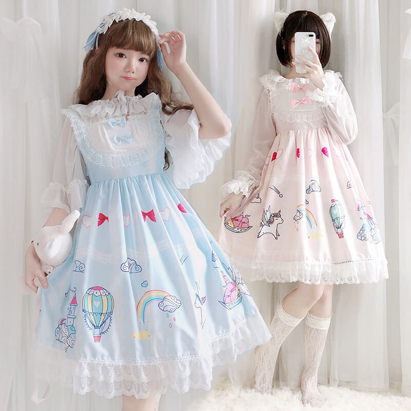 Cute Rainbow Unicorn Bow Dress SE20501