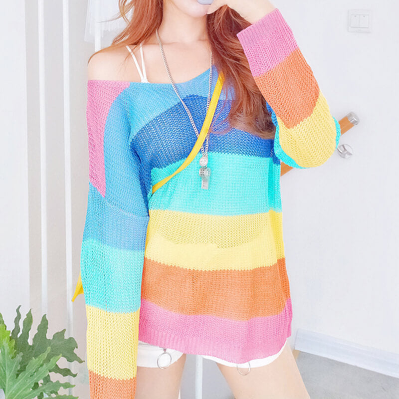 Cute Striped Rainbow Sweater SE20733