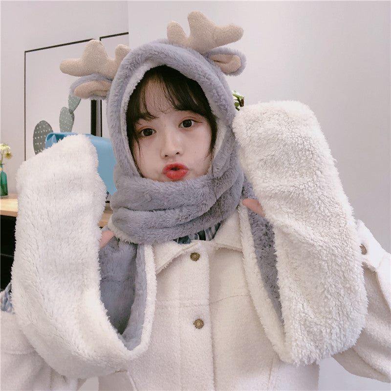 Cute Antlers Ears Christmas Gloves Hat Scarf SE20117