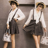 Cute students grid braces skirt SE4920