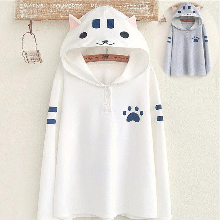 Students cat hooded fleece pullover SE8643