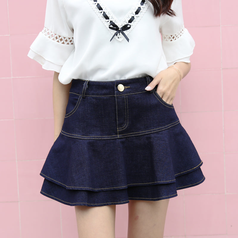 Denim Lotus Leaf Pleated Skirt SE20239