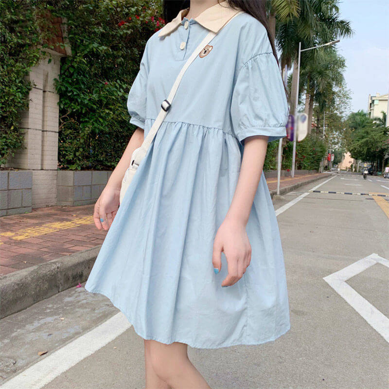 Loose Lapel Bear Dress SE21552