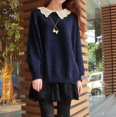 47e60a704e Beige navy blue students Fake two piece sweater SE10687