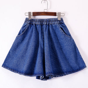 Elastic Waist Loose Denim Shorts SE20373