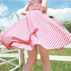 Sweet Grid Condole Belt Dress SE11138