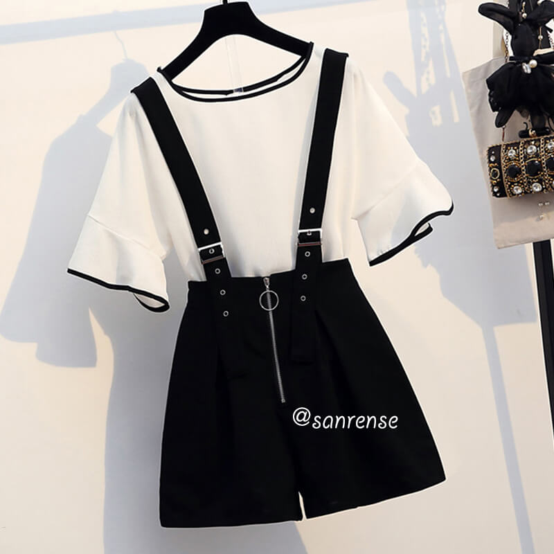 Flare Sleeve Top Zipper Strap Shorts Set SE20955