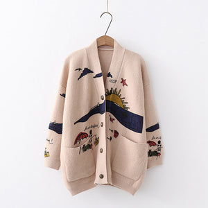 Funny Knit Cardigan Sweater SE20537
