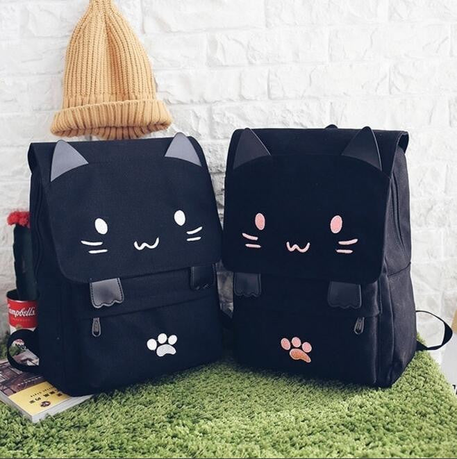 Cute Kawaii Cat Canvas Backpack SE9629