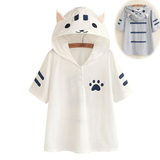 Cute cat pullover hooded T-shirt SE7350