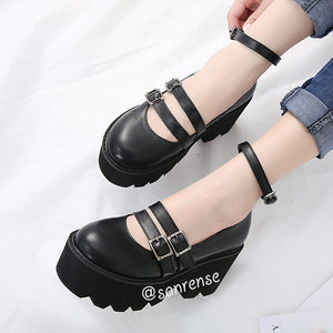 Gothic Ankle Strap High Heels Platform Punk Shoes SE20957