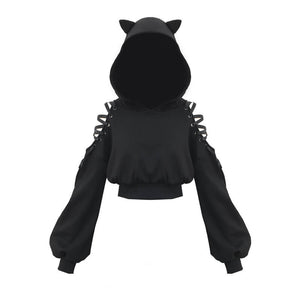 Gothic Cat Ears Lace Hoodie Plaid Skirt Set SE20853