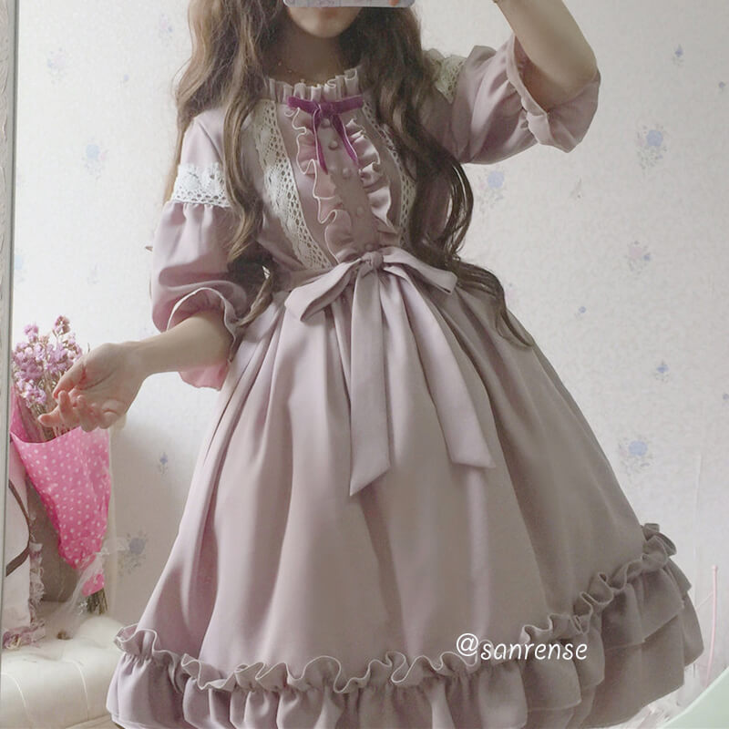 Gothic Lolita Bow Lace Dress SE21022