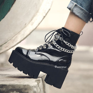 Gothic Punk Ankle Zipper Boots SE20997