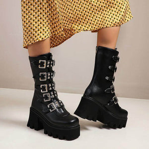 Gothic Punk Buckle Creeper Wedges Boots SE21280