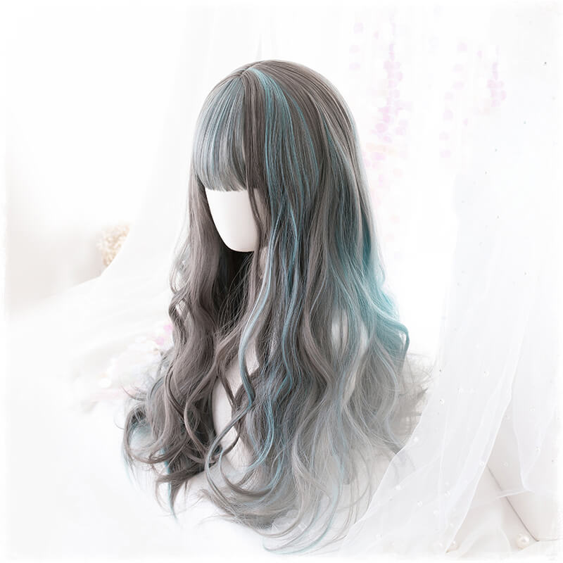 Gray-blue Cosplay Gradient Wig SE20821