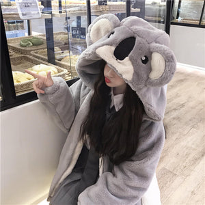 Gray Koala Ear Hooded Lamb Coat SE20655