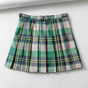 Green Grid Pleated Skirt SE20890