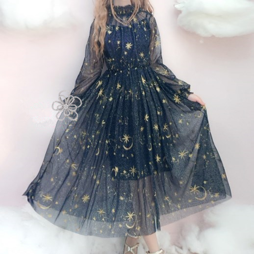 Harajuku Fashion,Stars,Embroidery,Galaxy,Gauze,Dress,