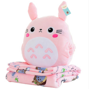 Gray/pink cartoon totoro pillow + blanket SE11021