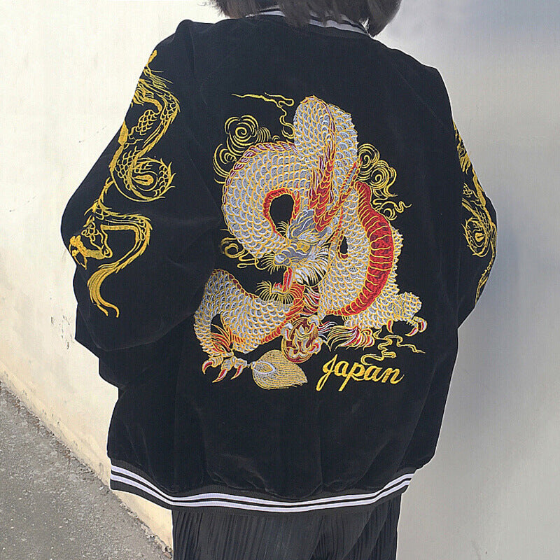 Harajuku Dragon Embroidered Velvet Jacket Coat SE20626
